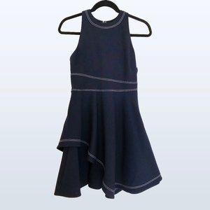 Cinq à Sept S layered navy + white stitch dress